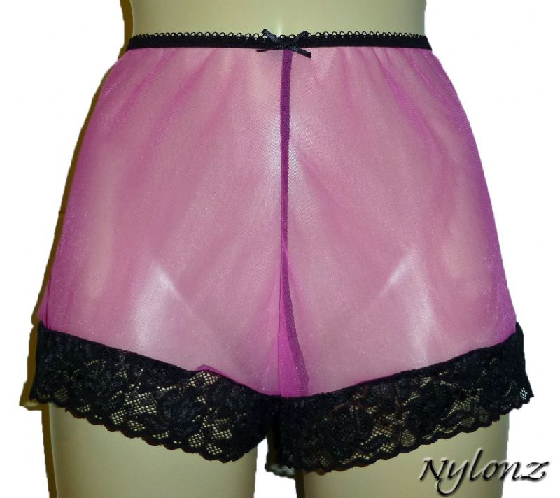 See Thru Sheer Gusset Nylon French Knickers - Pink